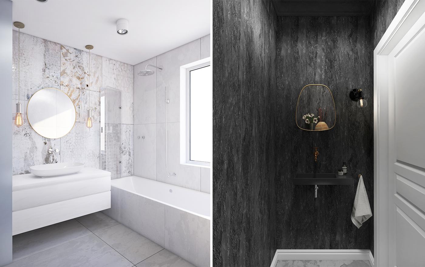 biała łazienka z wanną i czarna toaleta bez płytek