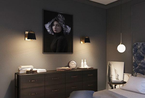 ciemna sypialnia ze sztukaterią