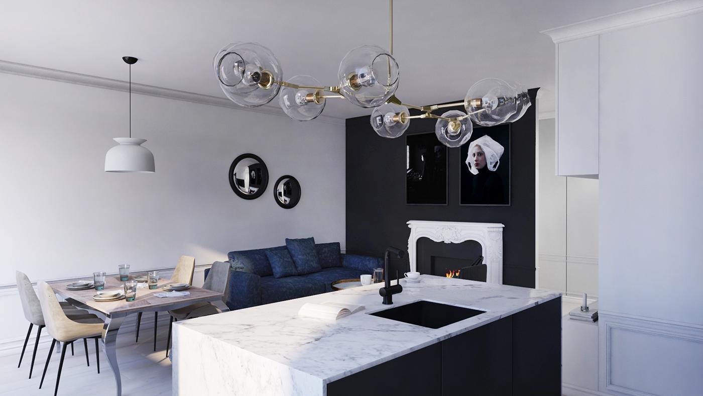 salon z eklektycznym kominkiem i wyspą z blatem marmurowym