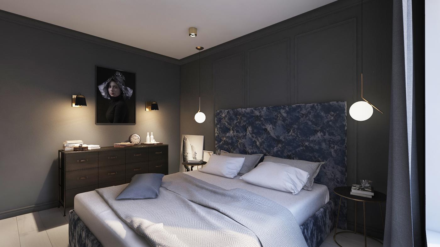 sypialnia w ciemnym kolorze z dekoracyjną sztukaterią