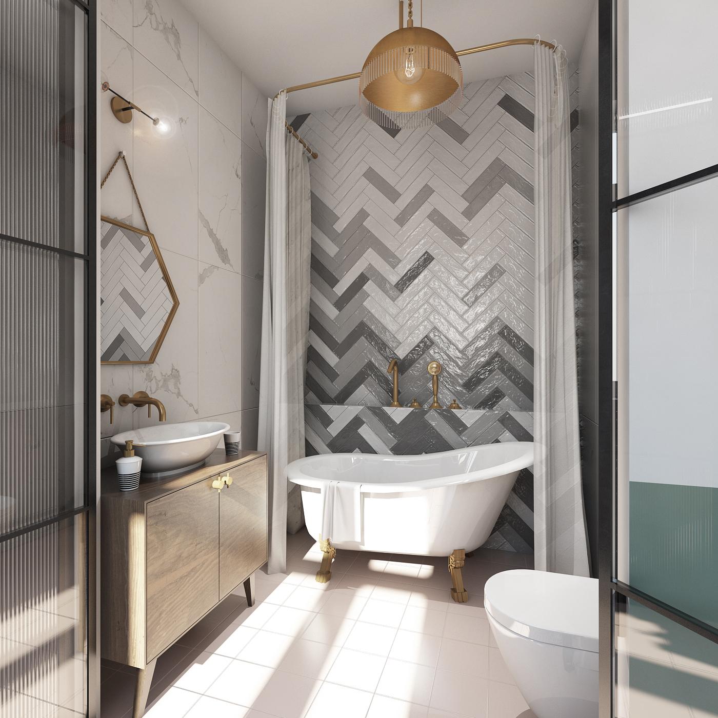 retro łazienka z wanną wolnostojącą marmurowa