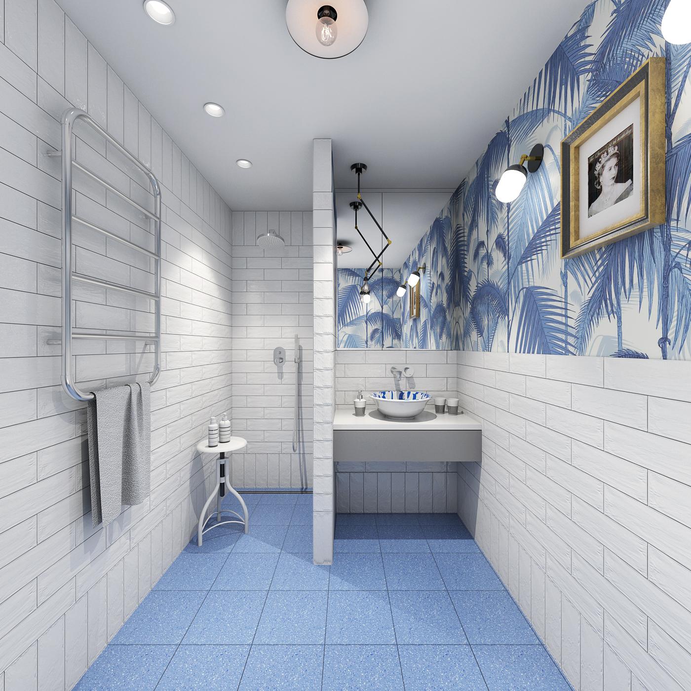 łazienka retro z tapetą płytki cegiełki