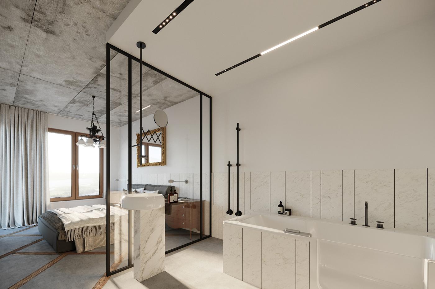 salon kąpielowy w sypialni