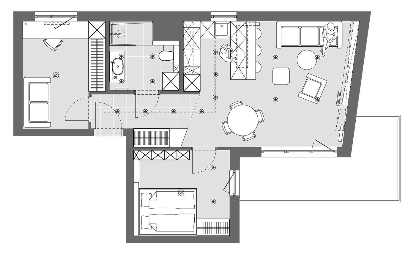 plan mieszkania soft loft