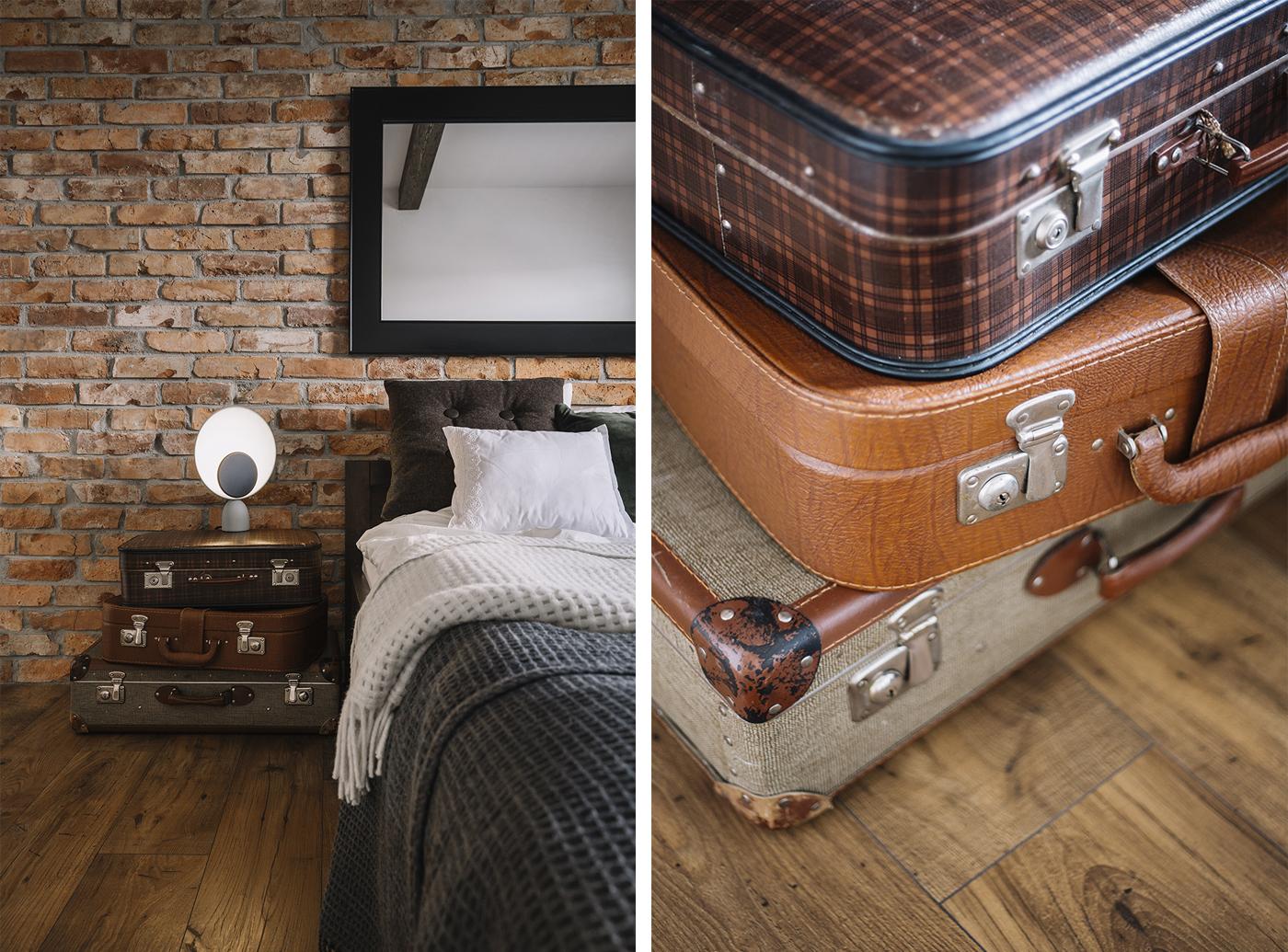 projekt sypialni szafka z walizek