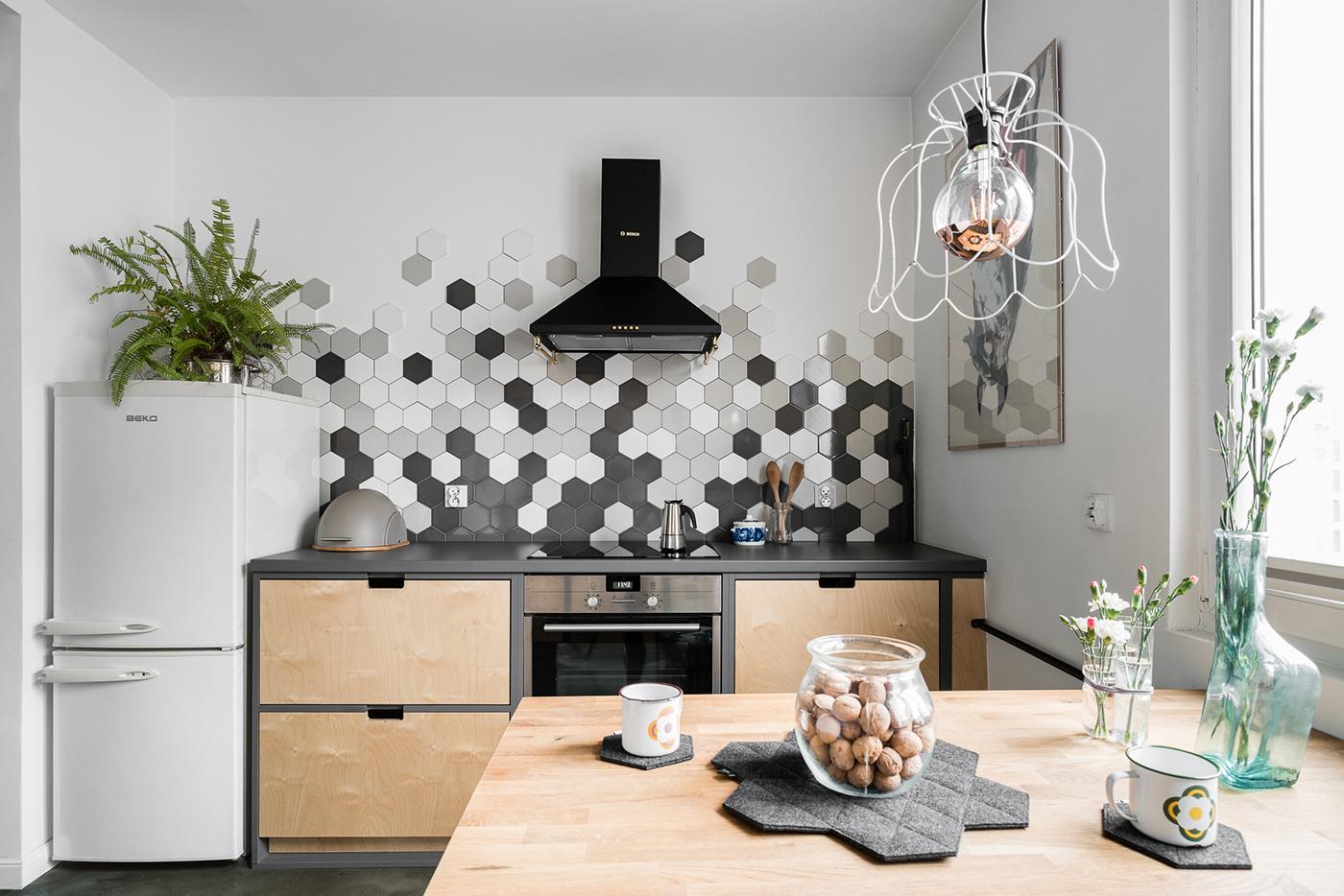 Kuchnia Heksagony Płytki Architekt Wnętrz Gdynia