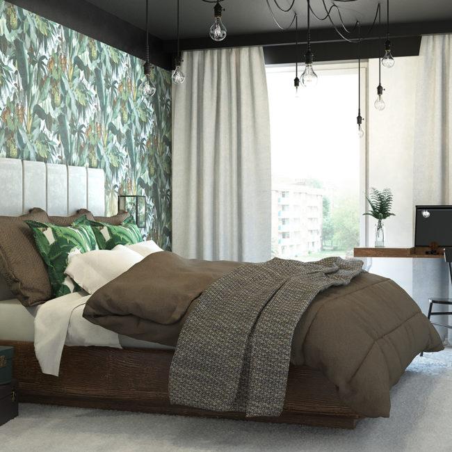 sypialnia z czarnym sufitem i tapetą w liście
